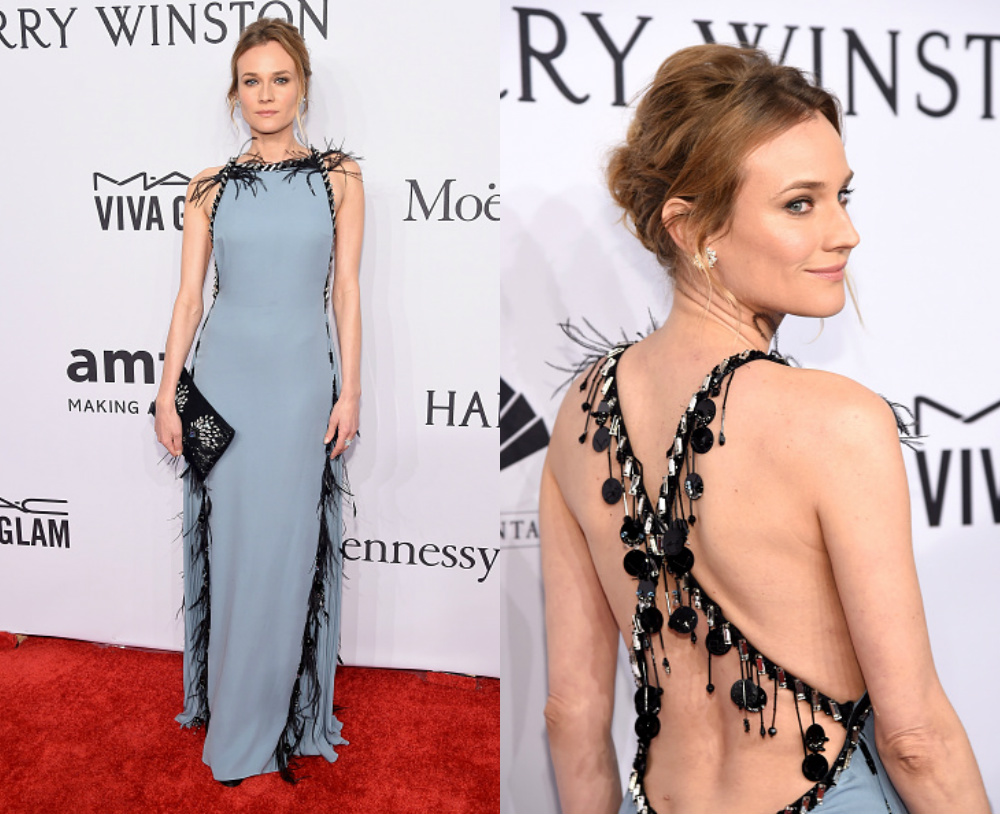 Diane Kruger was on the red carpet at the amfAR New York Gala last night  and she was just as beautiful as ever wearing a custom Prada gown. 2679daea105
