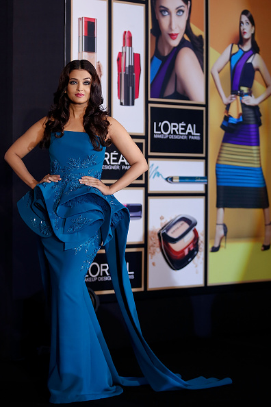 MUMBAI, INDIA - APRIL 26:  Aishwarya Rai Bachchan poses for pictures at the press conference to celebrate 15 years at Cannes as she launches L'oreal Paris's Infallible collection at Taj Land's End on April 26, 2016 in Mumbai, India.  (Photo by Chirag Wakaskar/Getty Images)