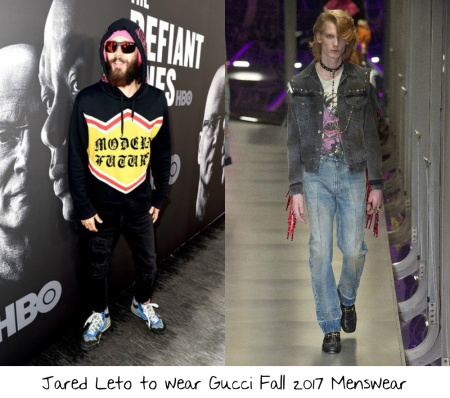 8fda14602f80 Jared Leto is going to be performing with his band 30 Seconds to Mars  tomorrow night and I am always excited to see what he will wear on a red  carpet.