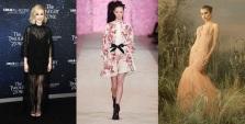 Taissa Farmiga in Giambattista Valli Fall 2020 RTW and Atelier Versace Fall 2019 Couture